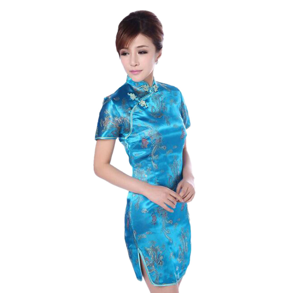 UK Women Traditional Chinese Wedding Party Brocade Qipao Dress ...