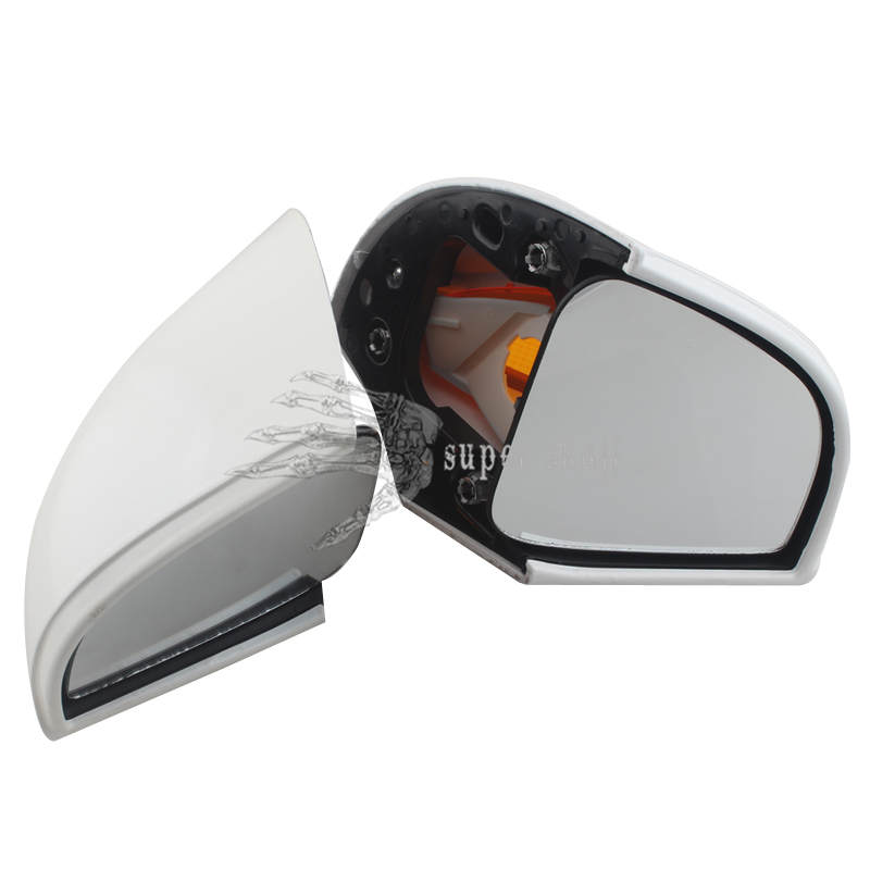 White Rearview Mirrors W//Turn Signal Amber for BMW R1100 RT R1100 RTP R1150 RT