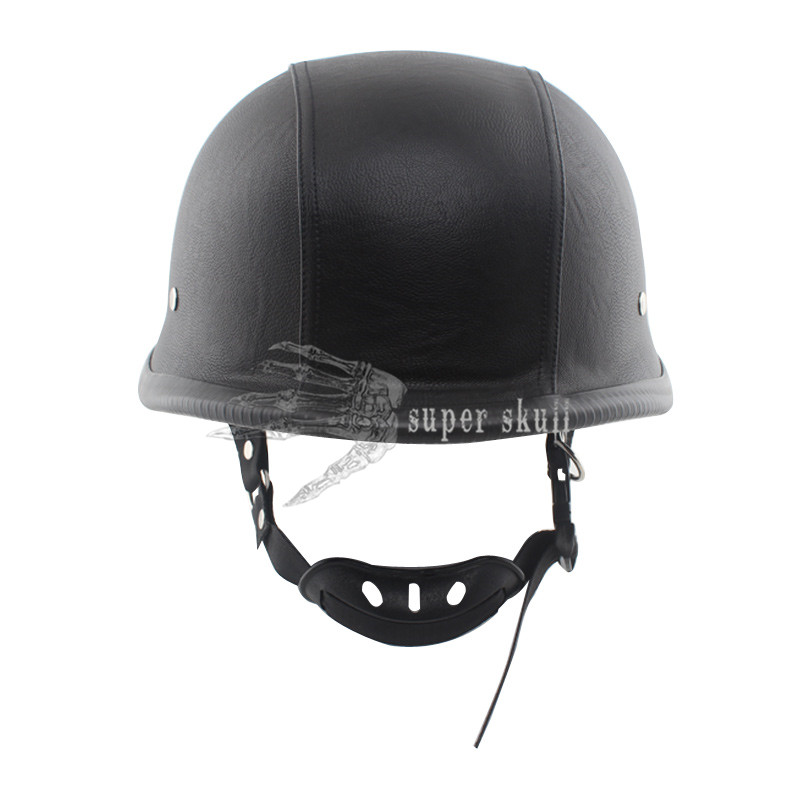 Motorcycle Scooter Cool German Style Black Leather Half Face Helmet Cruiser L