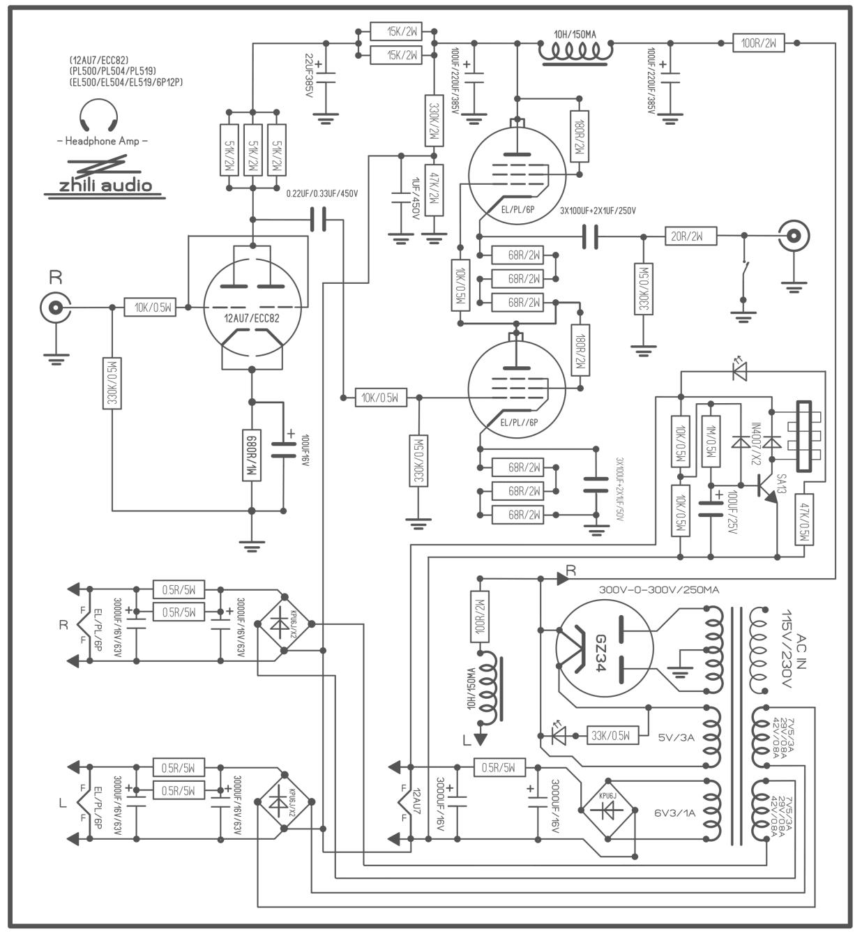 hifi vacuum tube headphone amplifier diy kit stereo audio