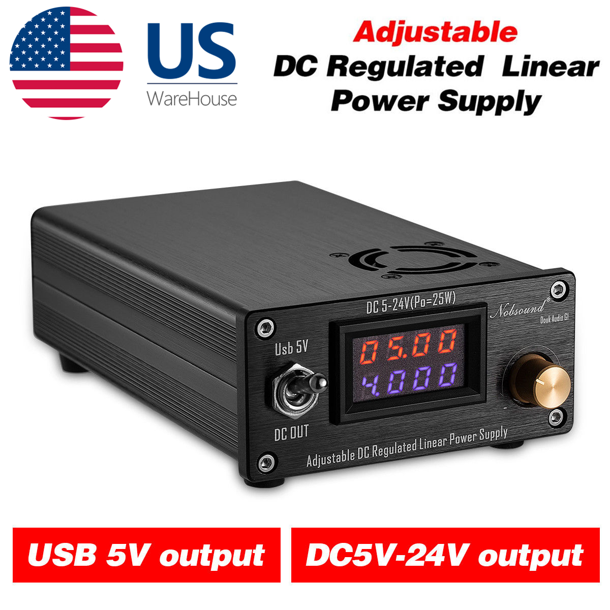 Details about 25W Adjustable Regulated Linear Power Supply USB DC 5V 12V  15V 18V 24V HiFi DIY