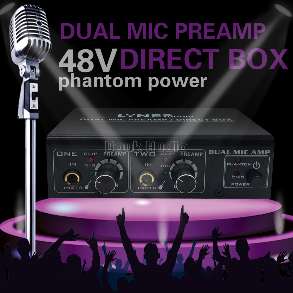 2 Channel Microphone Preamplifier Dual Mic Preamp Electric Guitar For Or Use Bass Amplifier