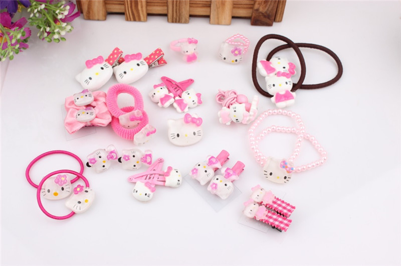 Hello Kitty Pink Anime Girl Accessories Hair Band Clip Brooch Ring Earring Gift