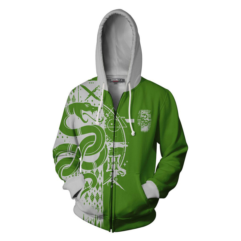 Harry Potter Gryffindor Slytherin Men Hoodies Sweatshirt Sweater Zip Jacket Coat