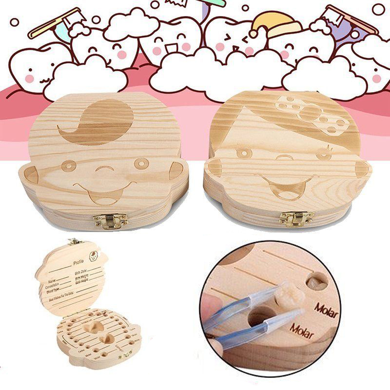 Wooden Tooth Fairy Treasure Box w// Note Kids Keepsake Gift Boys Girls 24