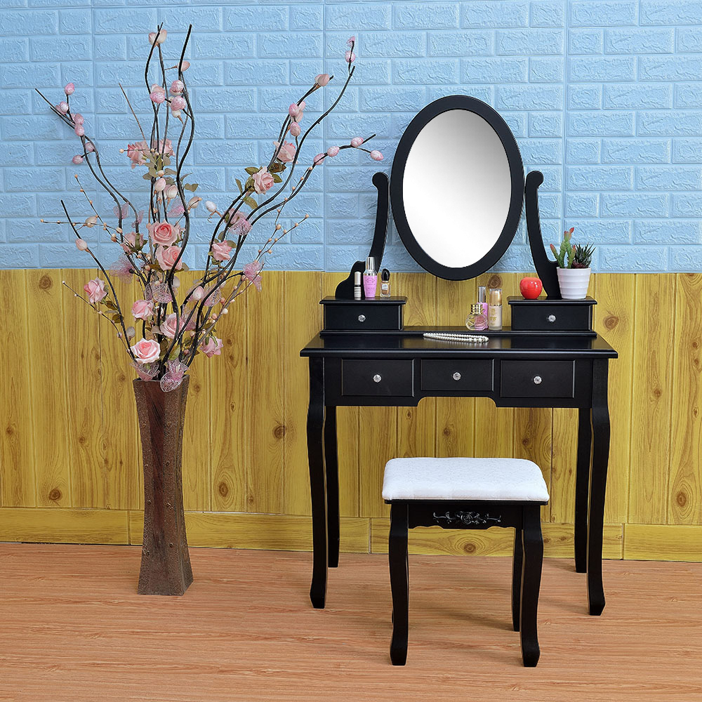 Strange Details About Makeup Vanity Dressing Table W Stool 5 Drawersmirror Jewelry Wood Desk Black Ocoug Best Dining Table And Chair Ideas Images Ocougorg