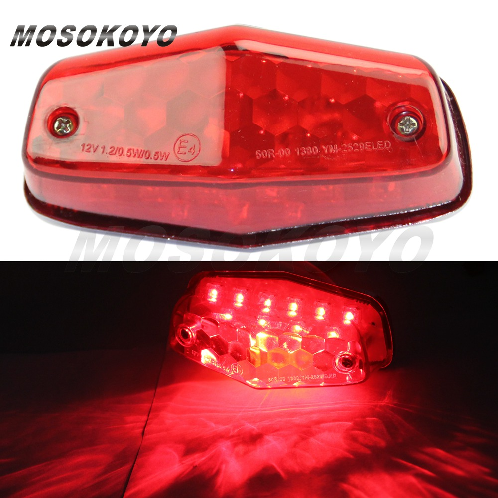 details about universal motorcycle lucas taillight 12v led rear tail brake  light red lens