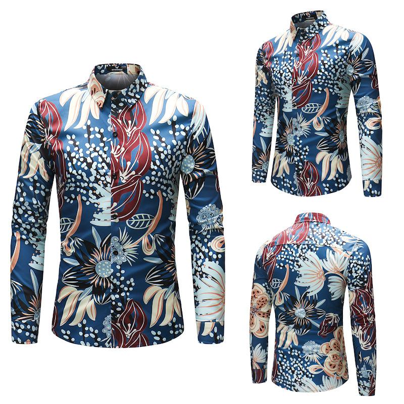 Men/'s Floral Print Casual Long Sleeve Shirt Fashion Men Dress Shirts Button Tops