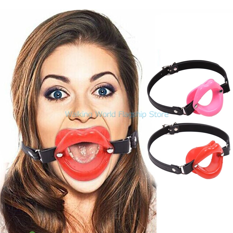 Pu Leather Soft Lip Shape Open Mouth Ball Oral Fixation -8977