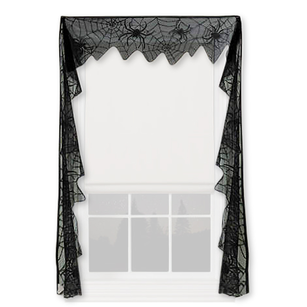 Garden Curtains Halloween Lace Curtains Spider Web Black