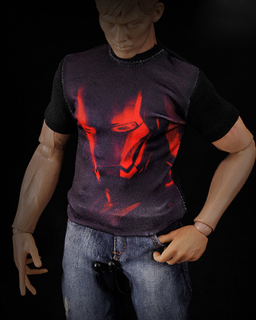 """Black Printing T Shirt   Fit 12/"""" 1:6  Action Figure Model 1//6 Scale 3A HT Toys"""