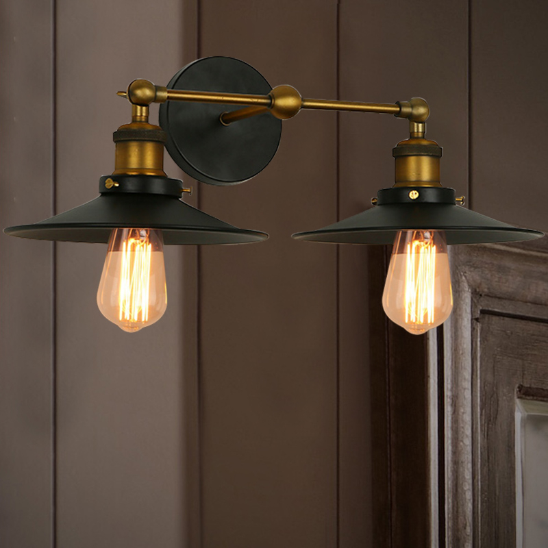 Double Sconce Metal Shade Wall Sconce Light Antique Black Lighting ...