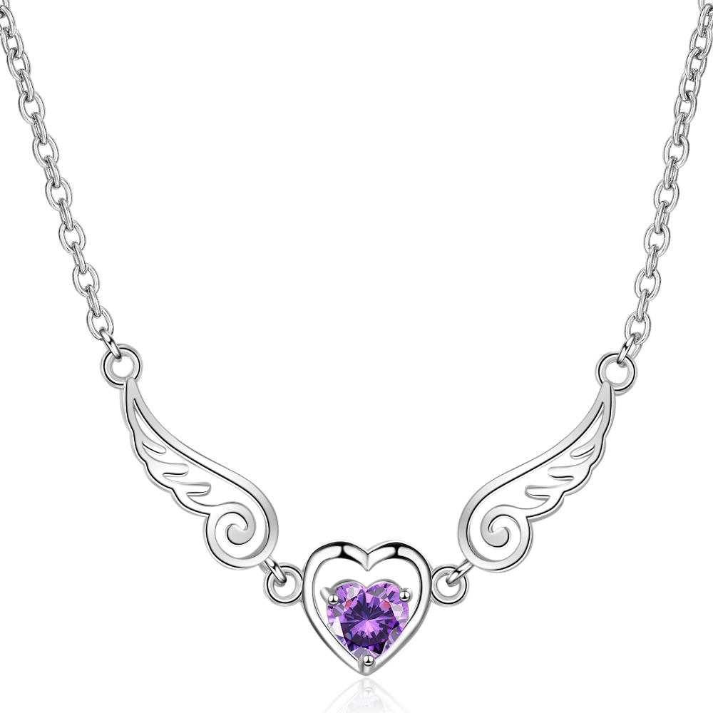 Solid 925 Sterling Silver Angel Wing Heart Purple Amethyst Pendant Necklace