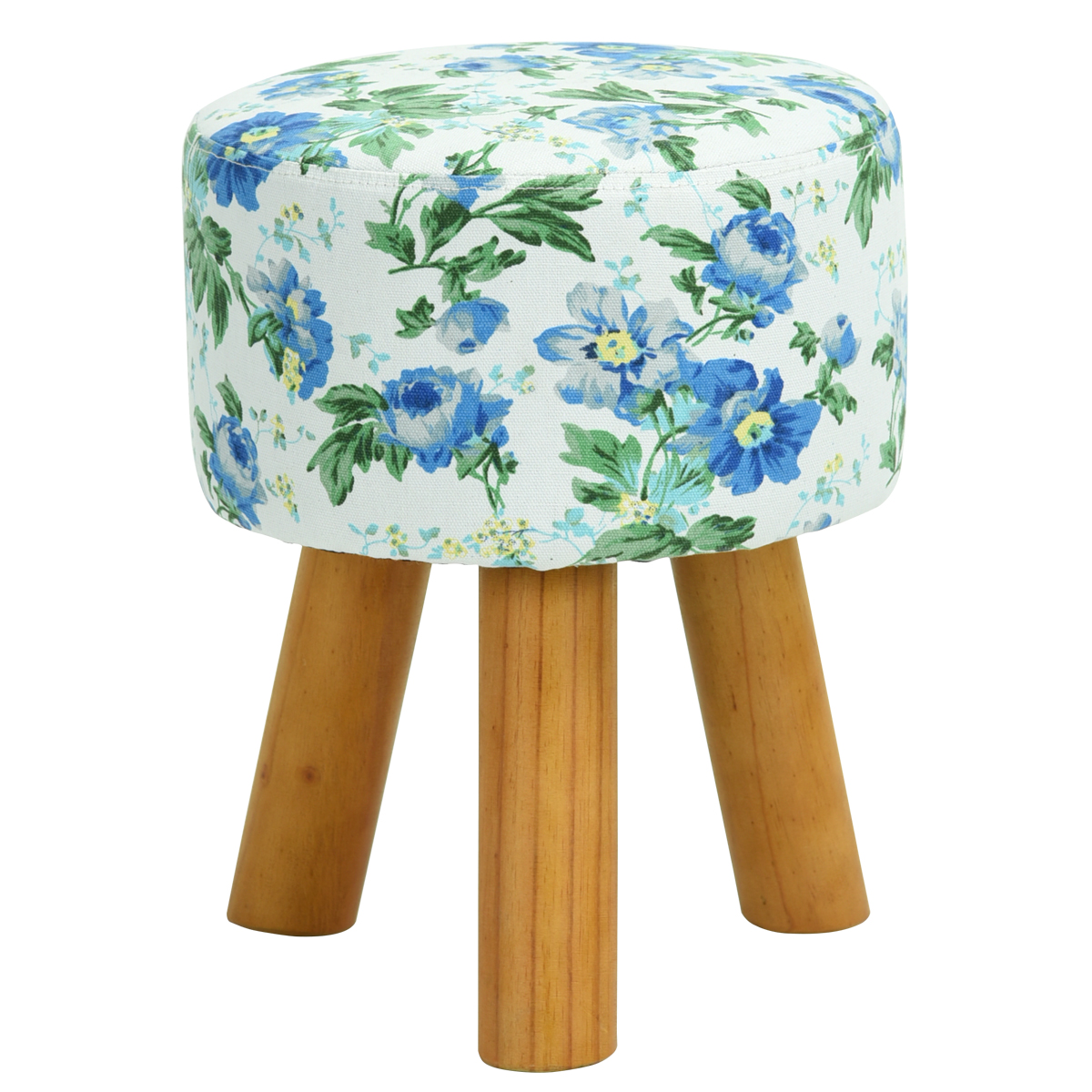 Floral Blue Round Ottoman Small Foot Stool With Wood Legs Foot Rest Seat  sc 1 st  eBay & Floral Blue Round Ottoman Small Foot Stool With Wood Legs Foot ... islam-shia.org