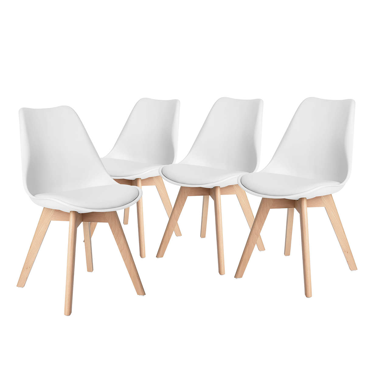 Set Of 4 Eames Style Soft Padded Seat Dining Shell Chairs Solid Wooden Leg