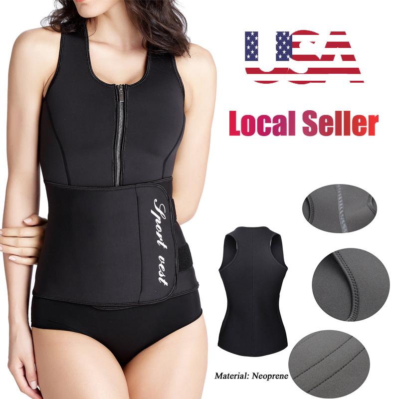 5150d1eb04 Details about Sauna Waist Trainer Vest Workout Slimming Adjustable Sweat  Belt Body Shaper HL12