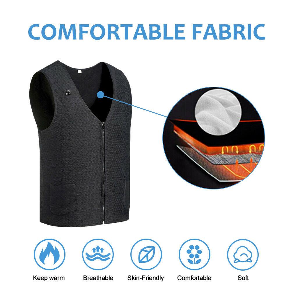 Heated Vest Warm Winter Warm Electric USB Jacket Men Women Heating Coat Thermal