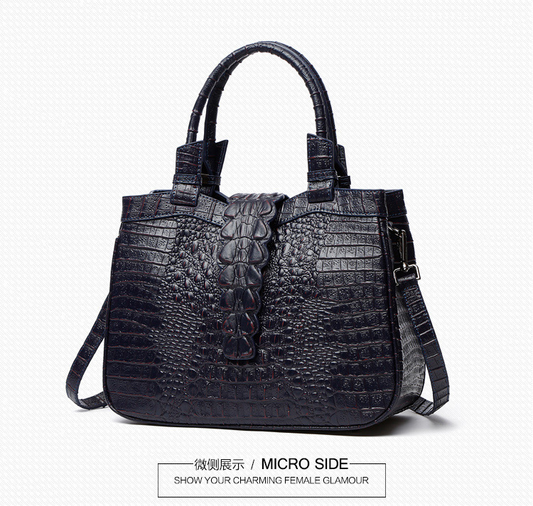 bb79a33a06c1 2018 Genuine Leather Crocodile Women s Satchel Handbag Tote Purse Shoulder  Bag