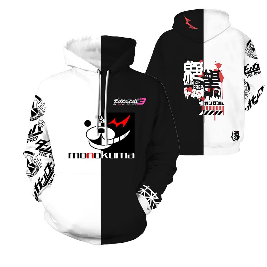 Anime Dangan Ronpa Monokuma Unisex Clothing Casual Cosplay Hoodie Free shipping