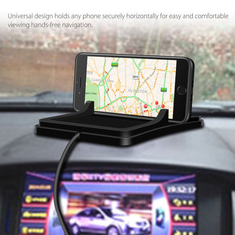 Phone Holder Car Dashboard Mat Stand USB Charger Non-Slip Pad with Number Kit