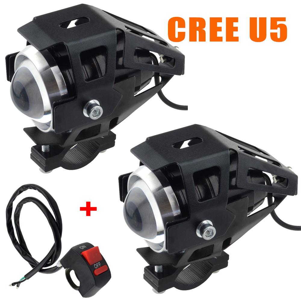 2pcs 125w Cree U5 Led Headlight Motorcycle Driving Fog Spot Bulb Light Amp Switch 6941859305349 Ebay