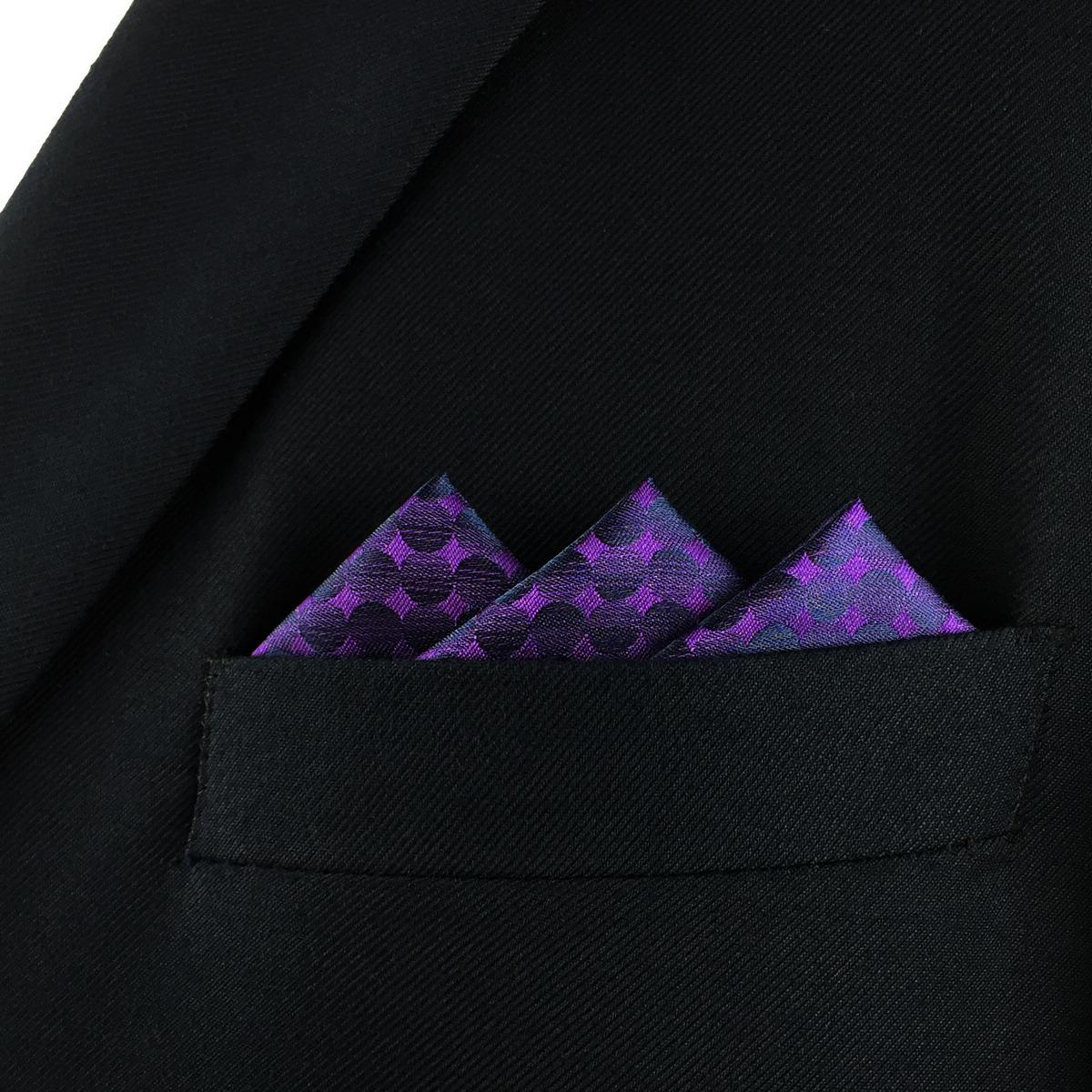 S/&W SHLAX/&WING Solid Purple Men/'s Silk Pocket Square Handkerchief Fashion