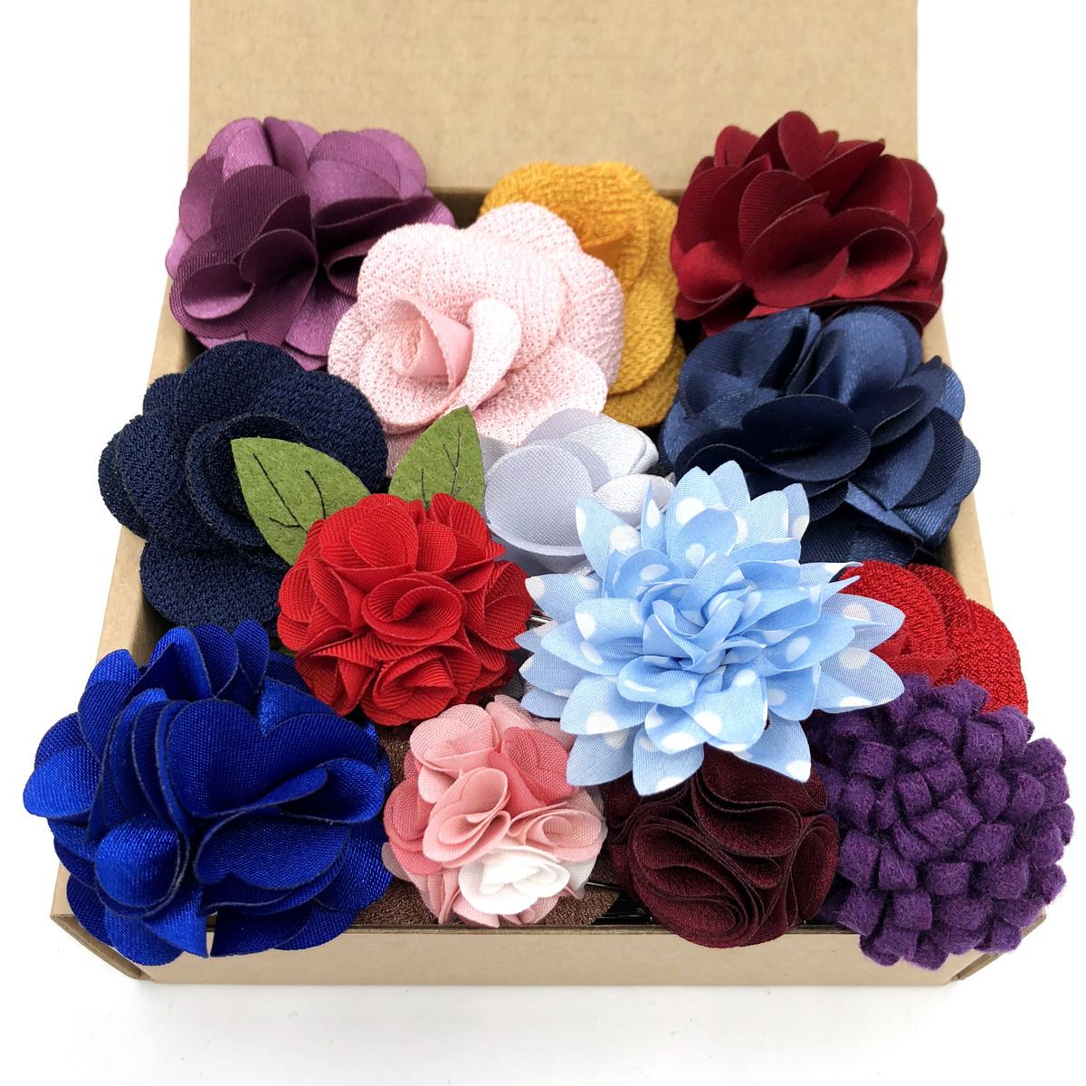 Silk Blend Lapel Flowers Handmade Boutonniere Stick Pin Mens