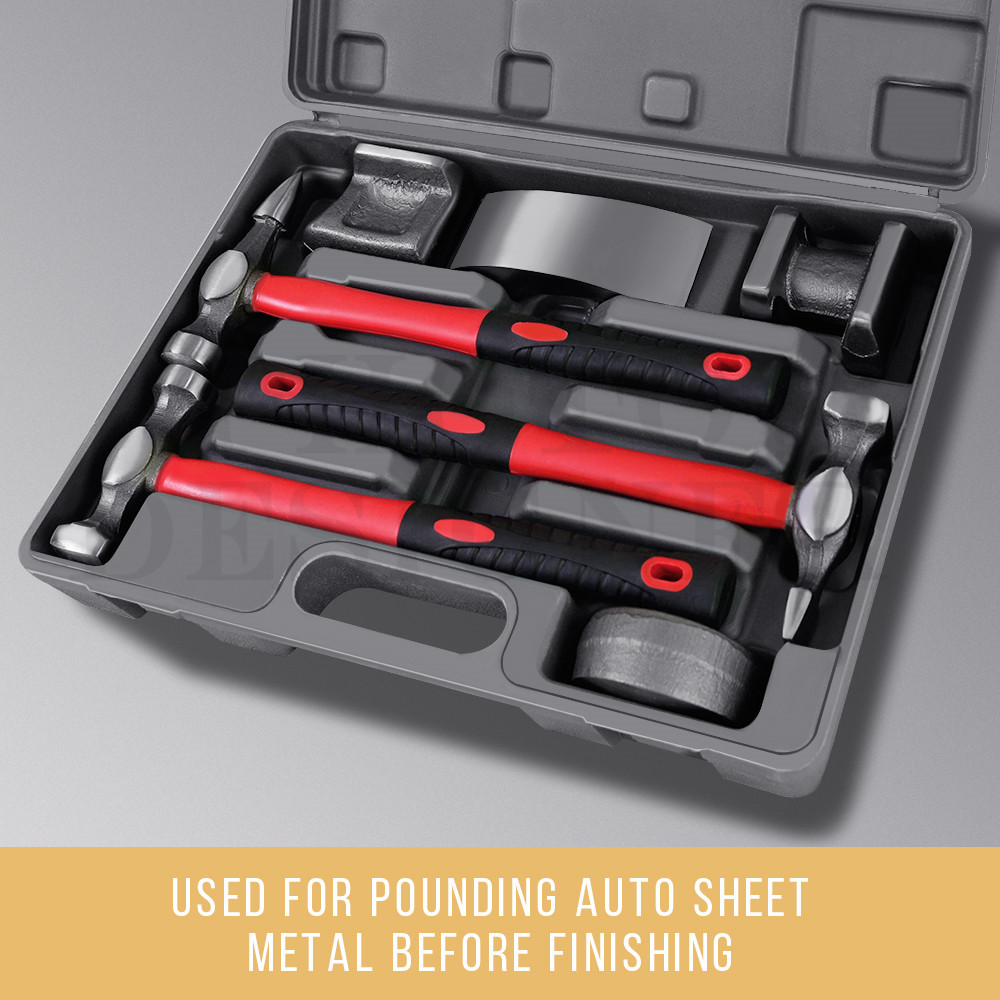 Details about Car Body Repair Hammer Dolly 7X Kit Panel Beating Dent Ding  Auto Tools with Case