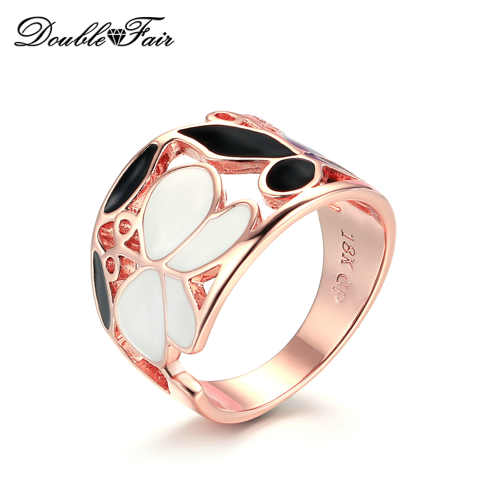 CZ Stone Ring Jewelry Fashion Rose Gold Color Leaf Crystal Wedding Rings for Wom