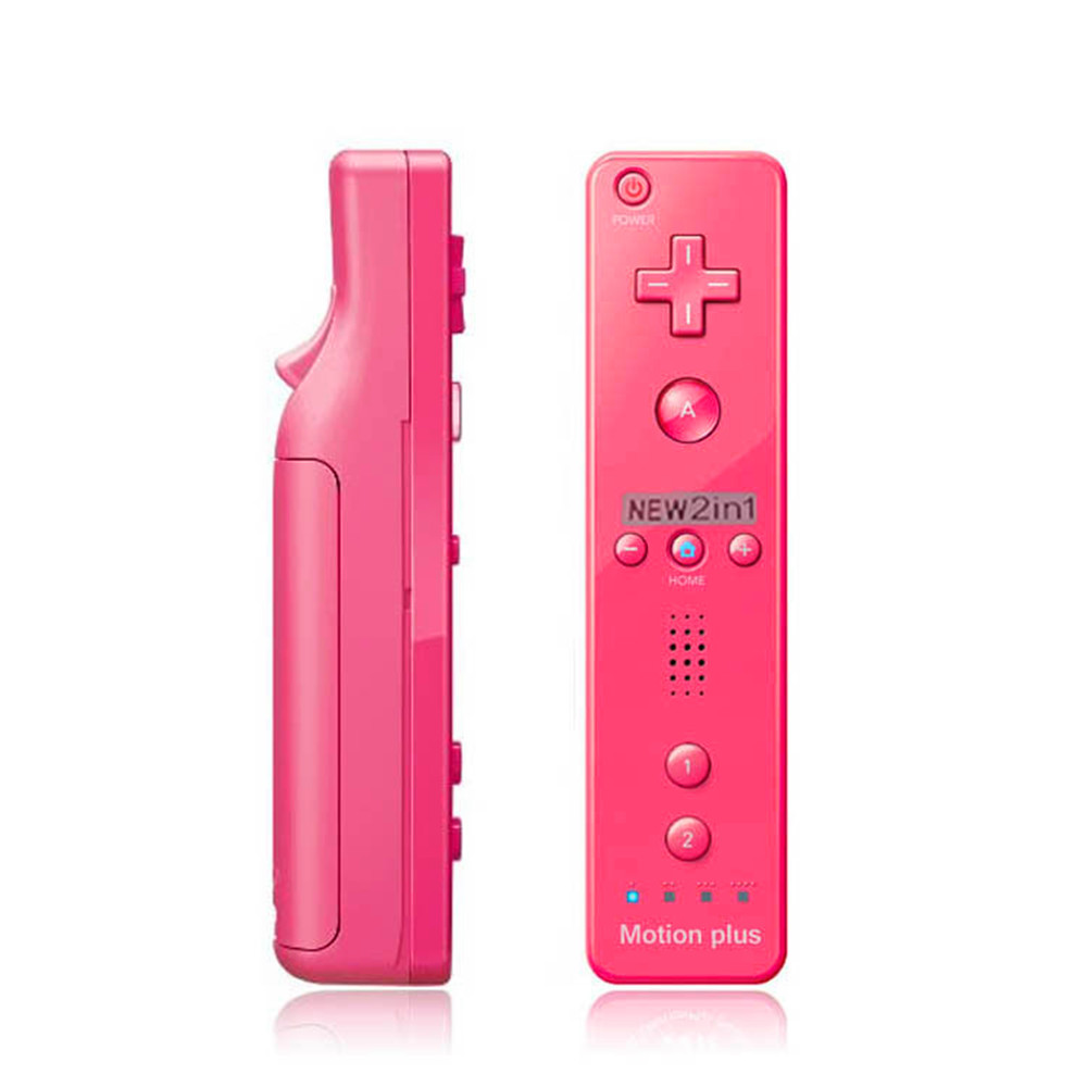 2PC Pink Built in Motion Plus Remote Controller+Nunchuck For Wii U & Wii Console