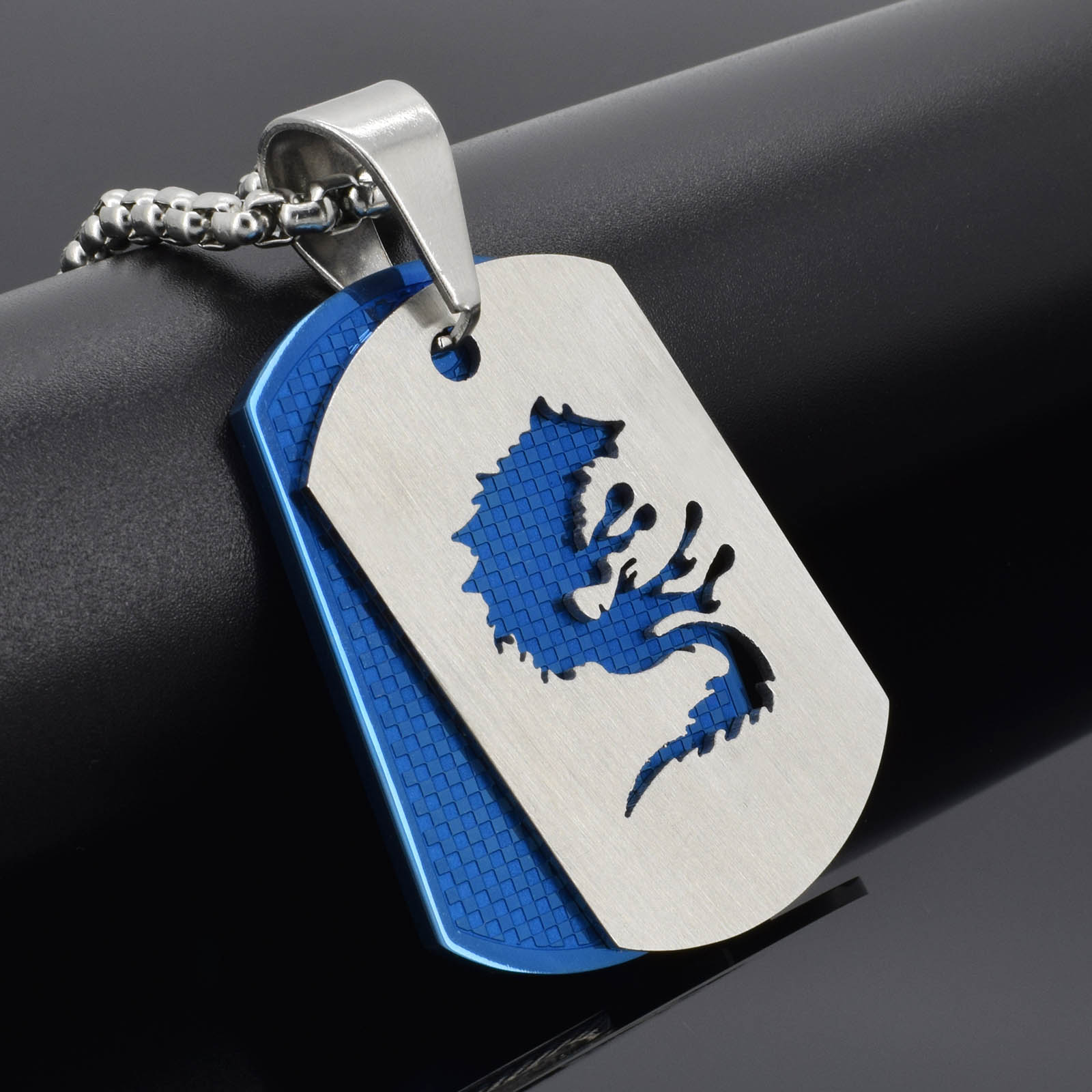 stainless steel silver blue wolf dog tag pendant box chain necklace