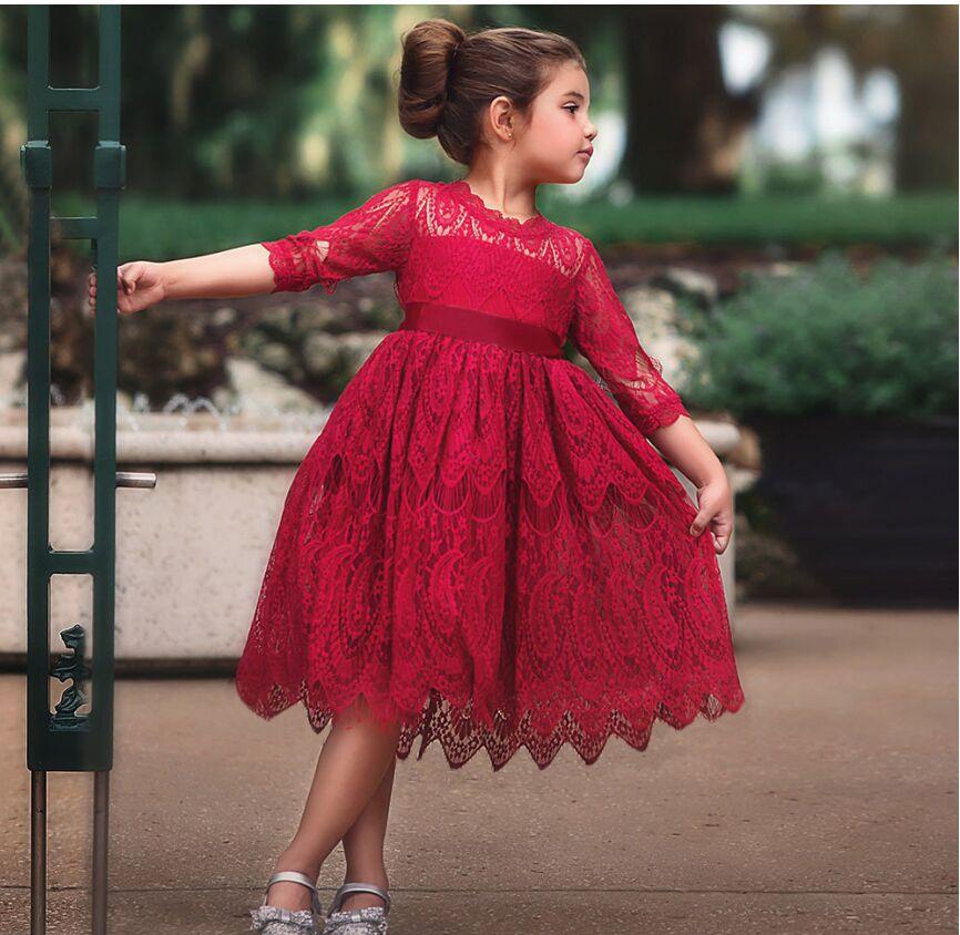 Mädchen Langarm Festkleid Kinder Hochzeit Party Kleid Spitzenkleider