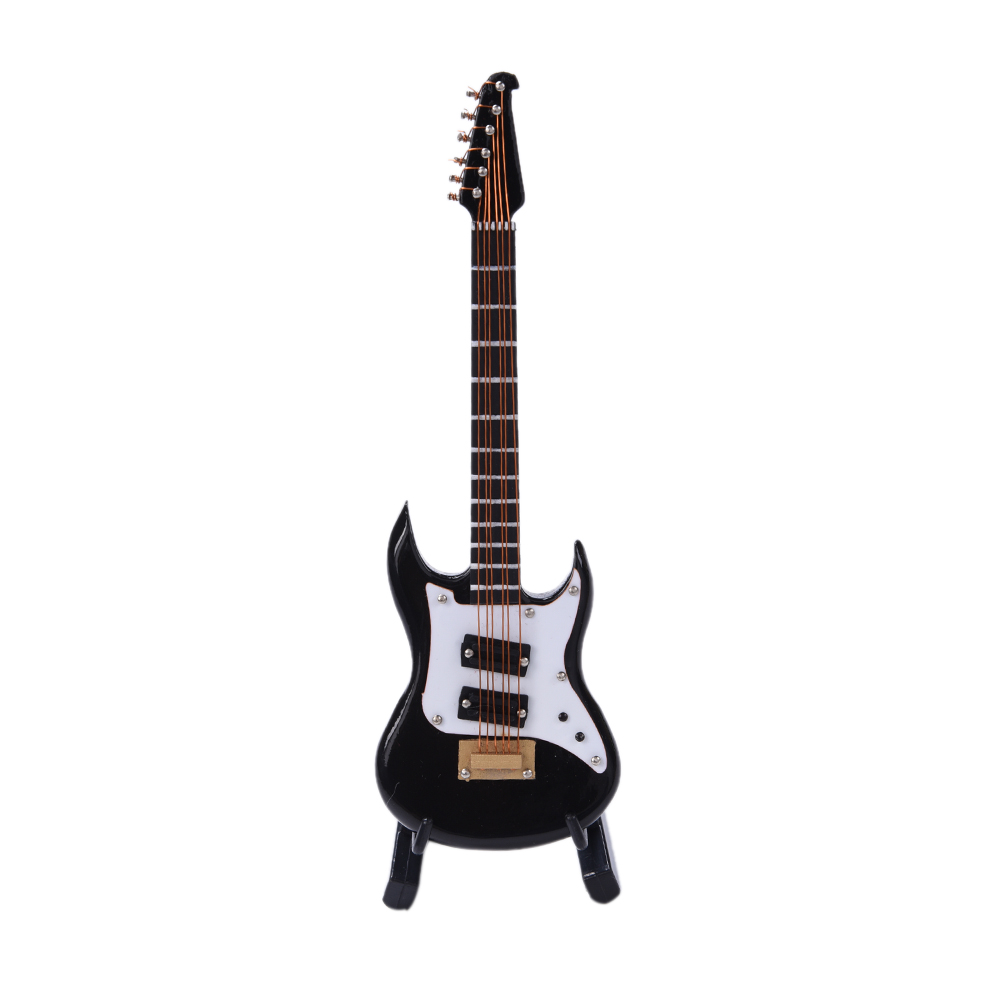1:6 Mini Electric Guitar Wooden Musical Instruments Model /& Stand Holder Black