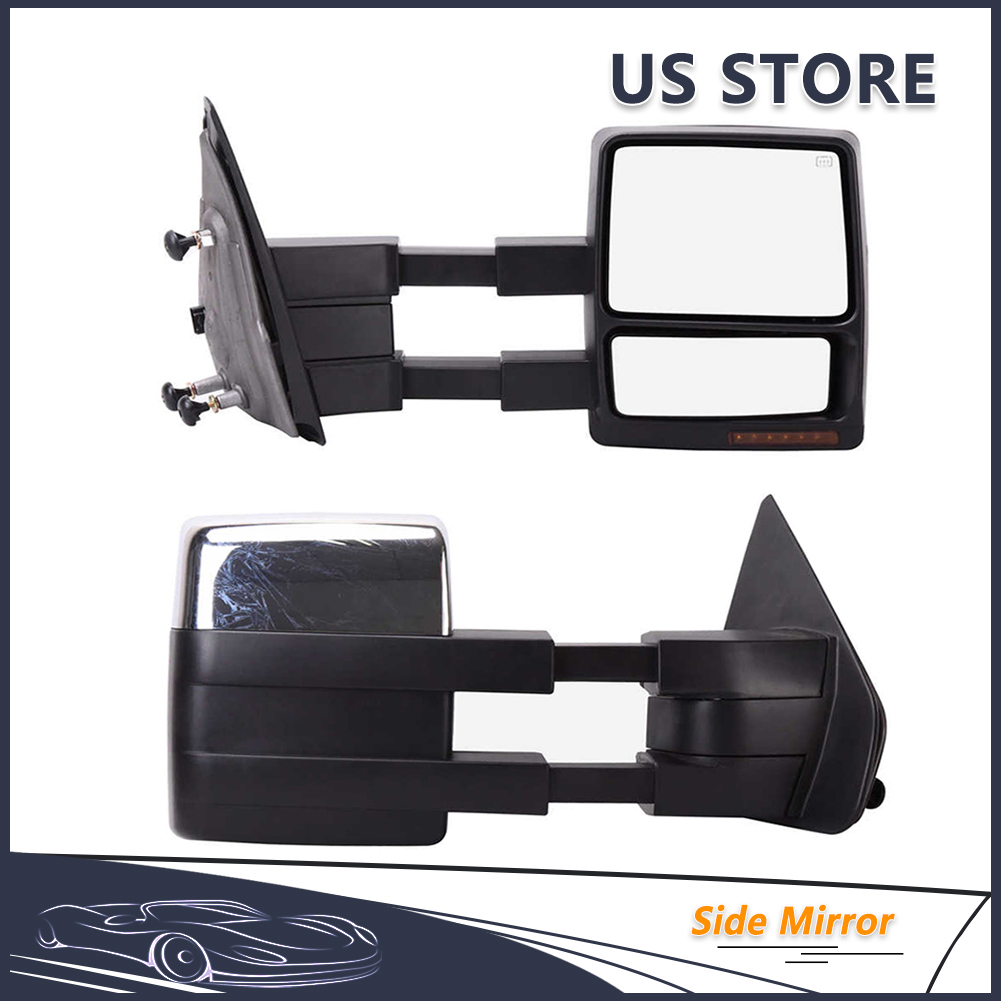 Power Heated Towing LED Puddle Signal Pair For 2007-14 F150 Pickup Side Mirrors