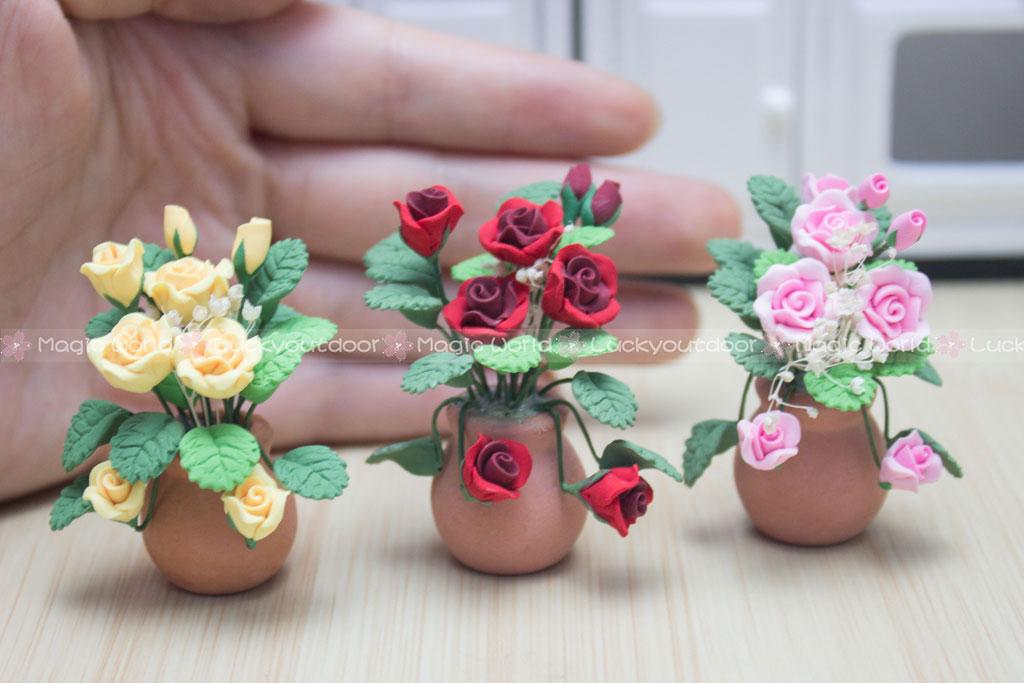 Dollhouse Flowers Frame Pink Rose Pergola Potting 1:12 Miniature Plant Decor