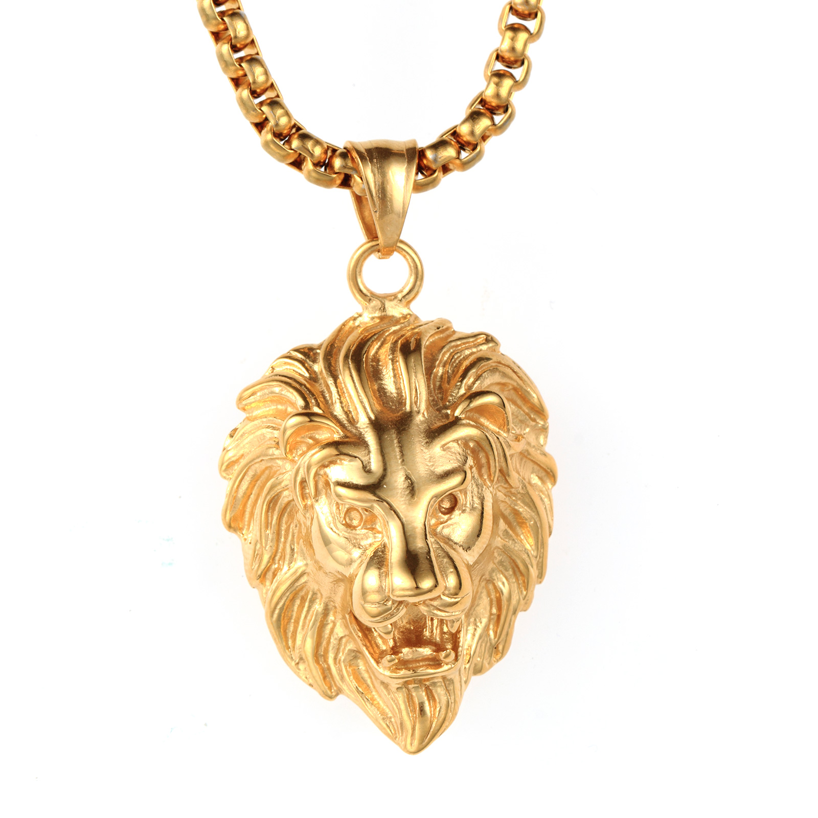 steel matching head tone picture necklace of s p chain w gold pendant mens lion stainless