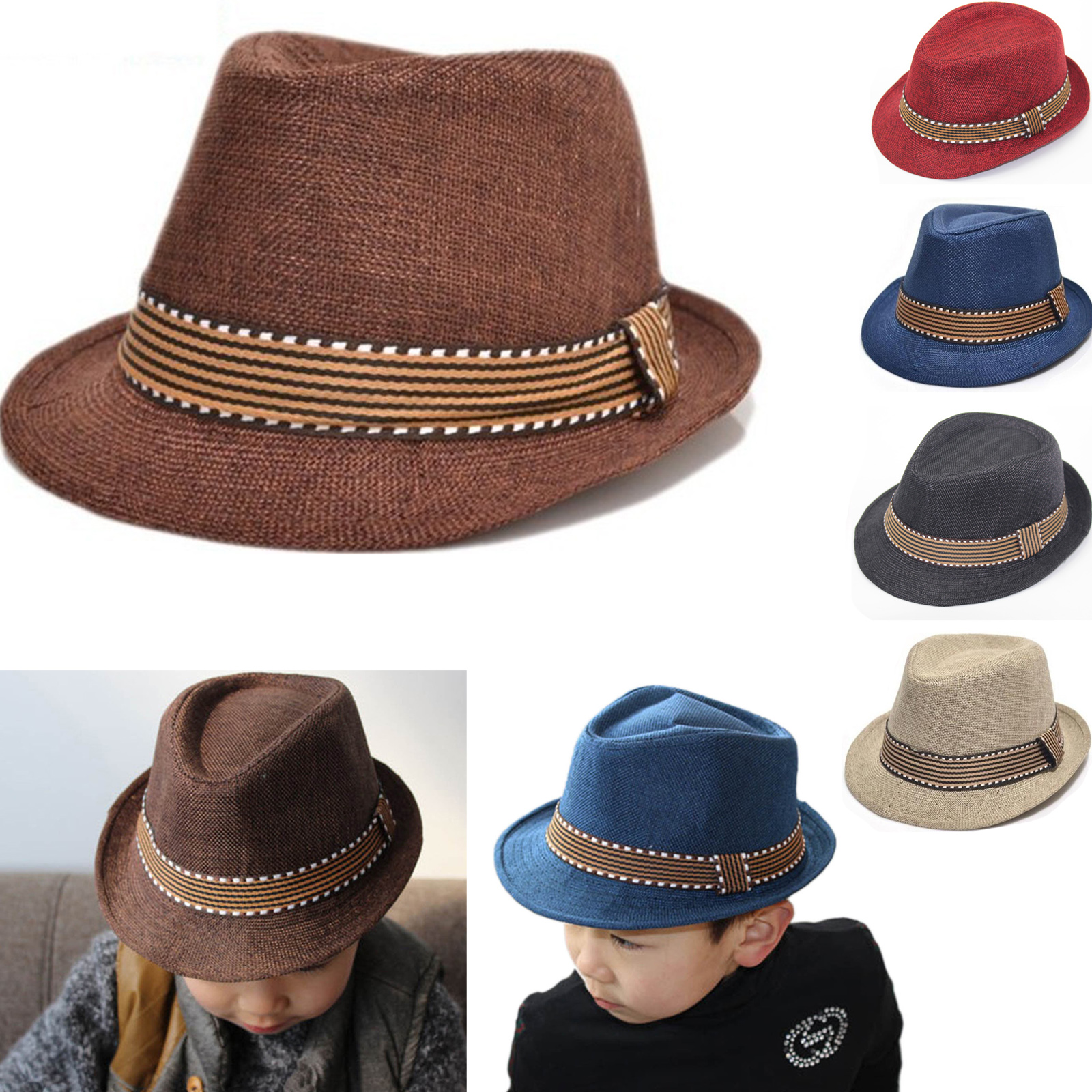 3000ac0b Details about Kids Baby Girl Boy Felt Fedora Trilby Hat Panama Gangster Cap  Jazz Hat