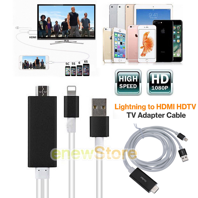 8 Pin to HDMI Cable HDTV AV Adapter iPhone 5s 6 6s 7 8 Plus SE iPad Air Mini Pro