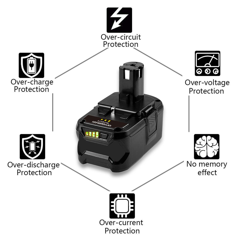 2x Batterie 18v 4000mah Li-Ion pour ryobi crp-1801//dm crp-1801d CRS 1803 crs-180l