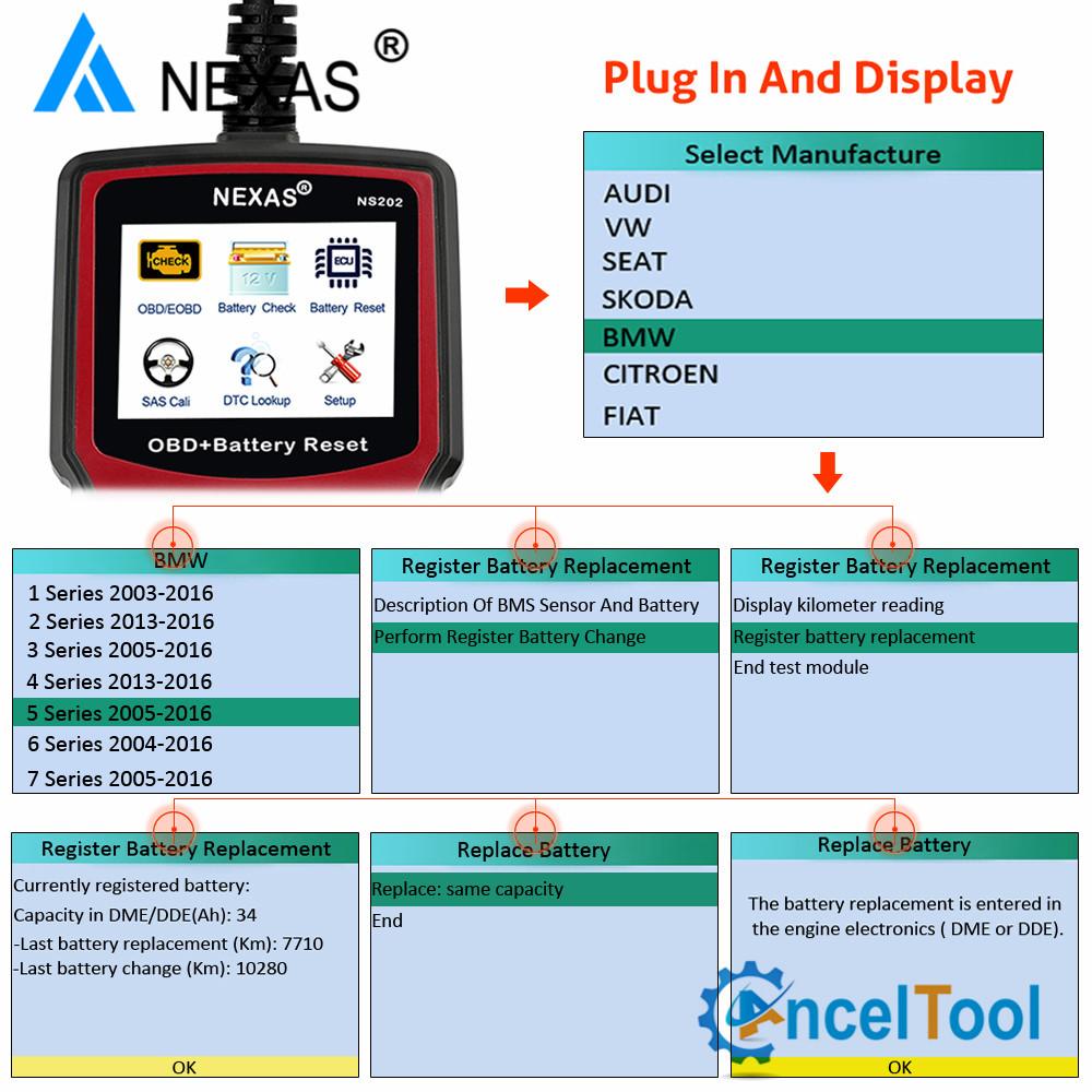 Details about NEXAS NS202 Automotive Battery Registration BMS Reset SAS  Diagnostic ScannerTool