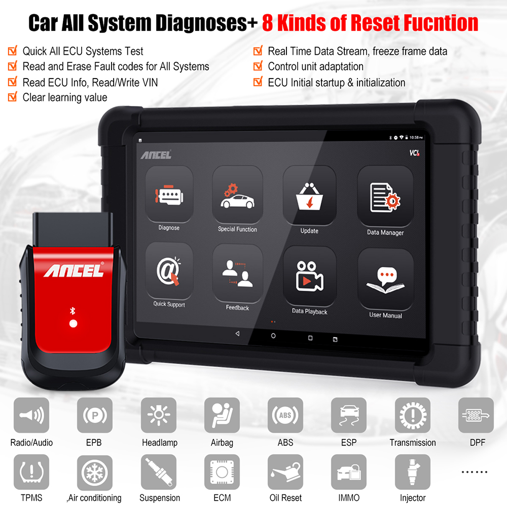 OBD2 Bluetooth Automotive Full System OBD2 Code Reader Diagnostic Scanner Tablet