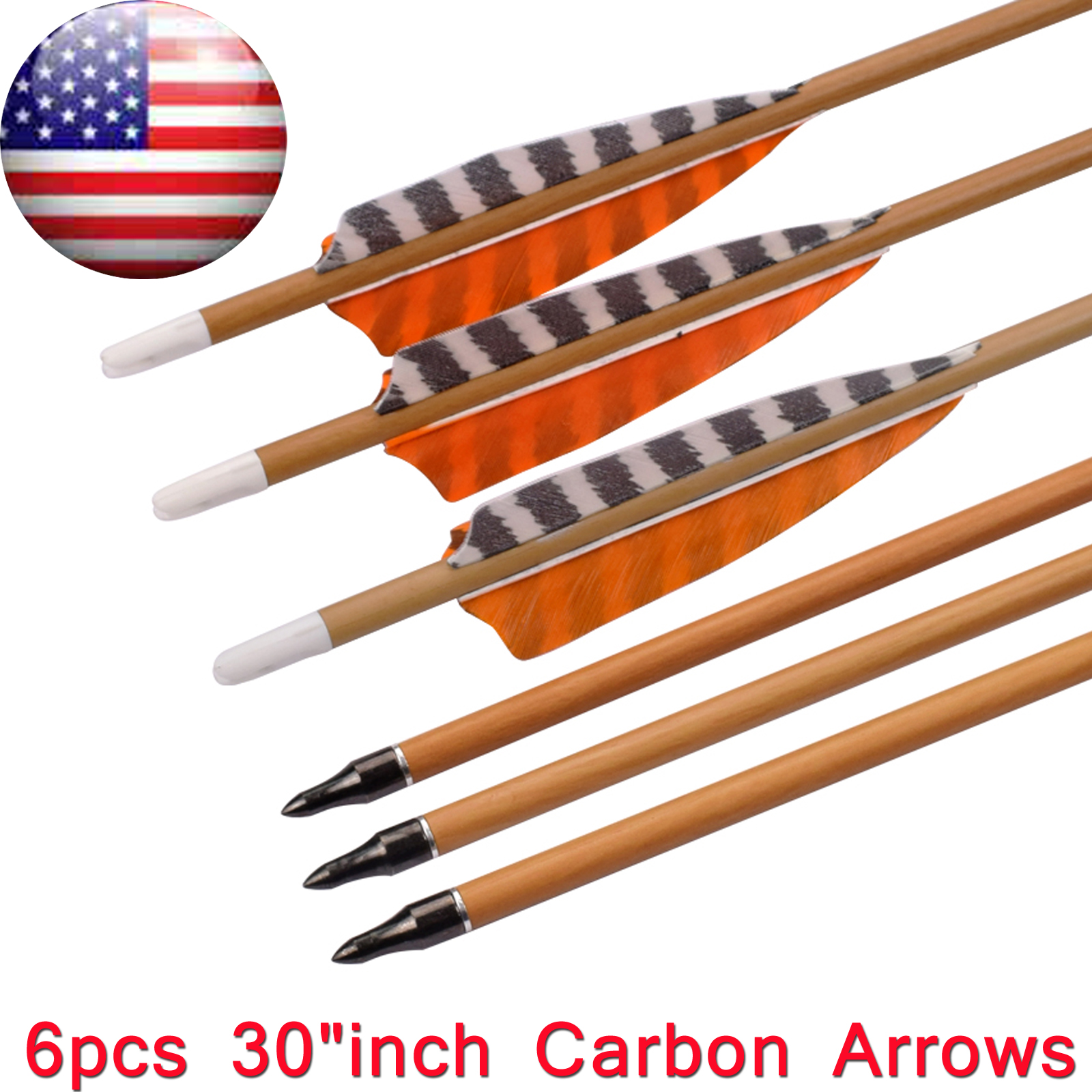 """12x 31/""""//33/'/'Turkey Feather Carbon Shaft Arrow SP500 Compound Recurve Bow Hunting"""