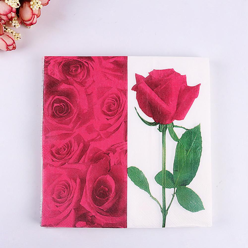 20pcs 3333cm Decoupage Flower Rose Paper Napkins Wedding Party