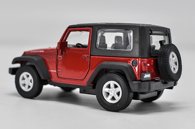 Jeep Rubicon Model Car Toys 1:36 Open Two Doors Alloy Diecast Red  Collection New