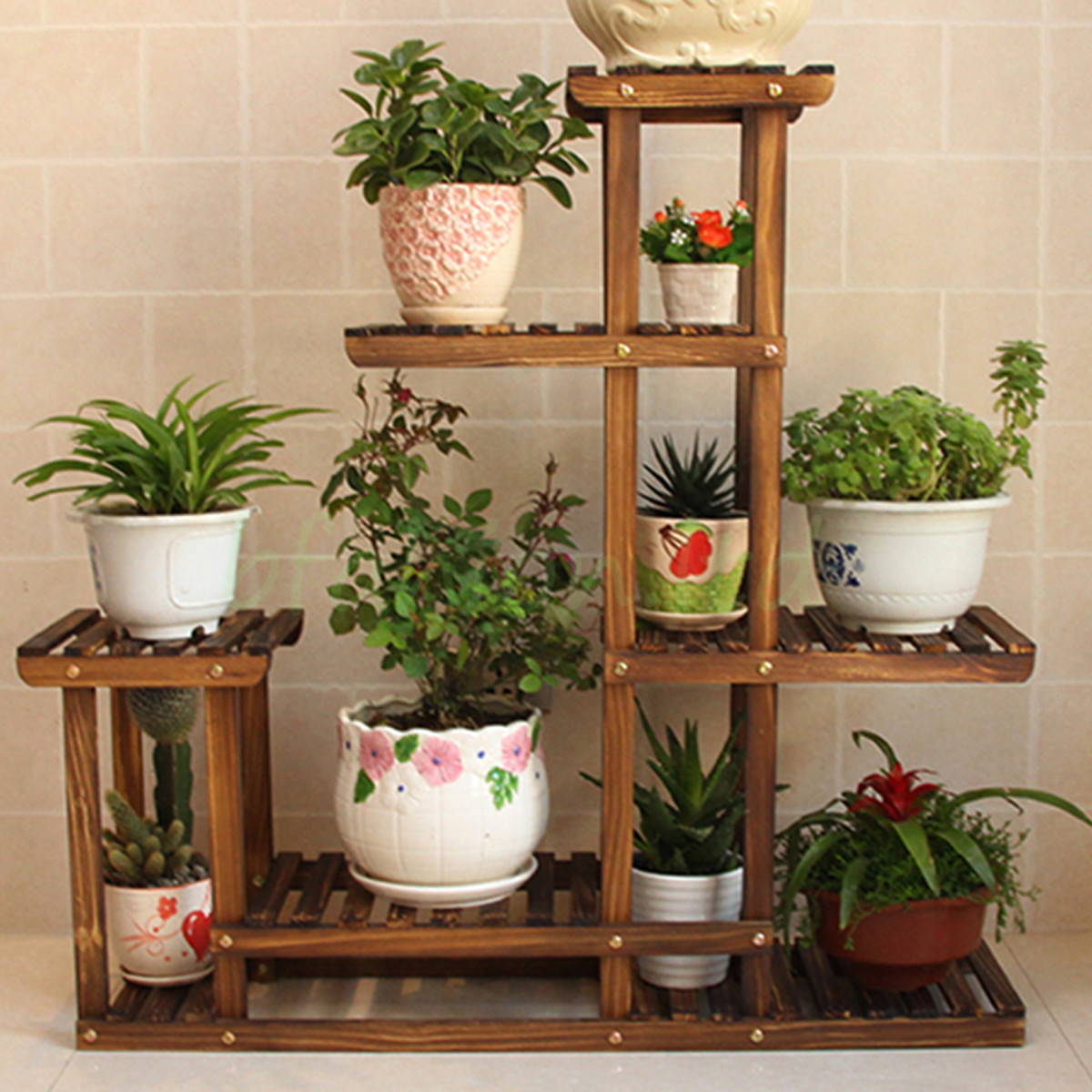 wooden plant flower herb display stand shelf storage rack outdoor 7 pots holder ebay. Black Bedroom Furniture Sets. Home Design Ideas