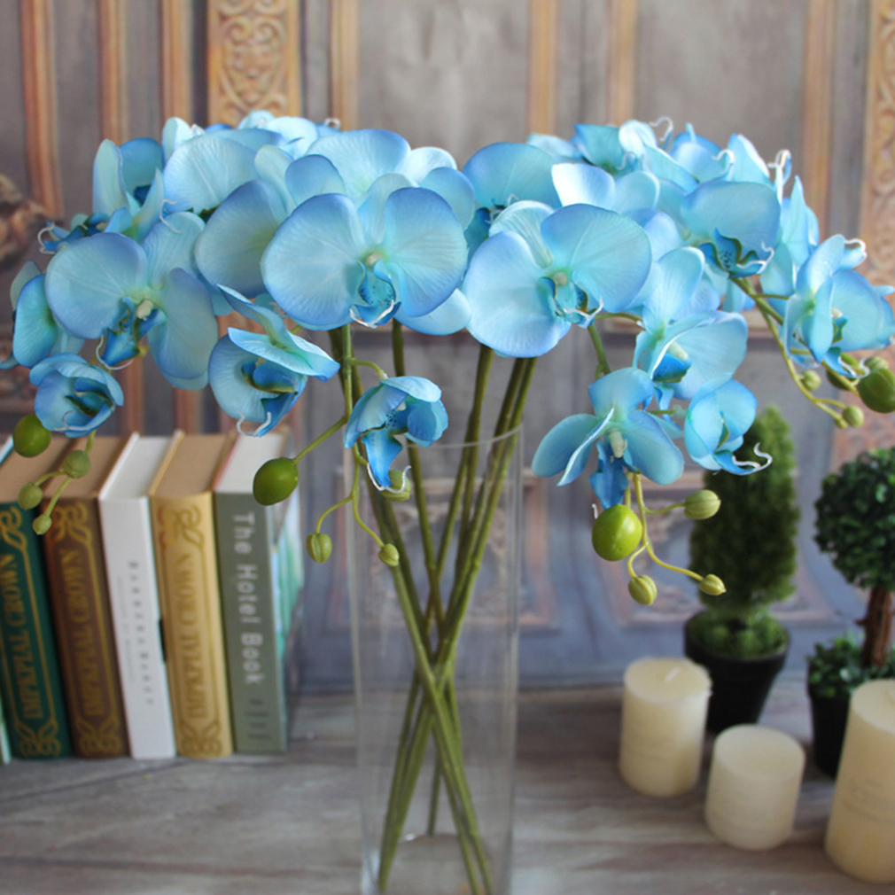 Artificial Fake Silk Flower Phalaenopsis Butterfly Orchid White Blue