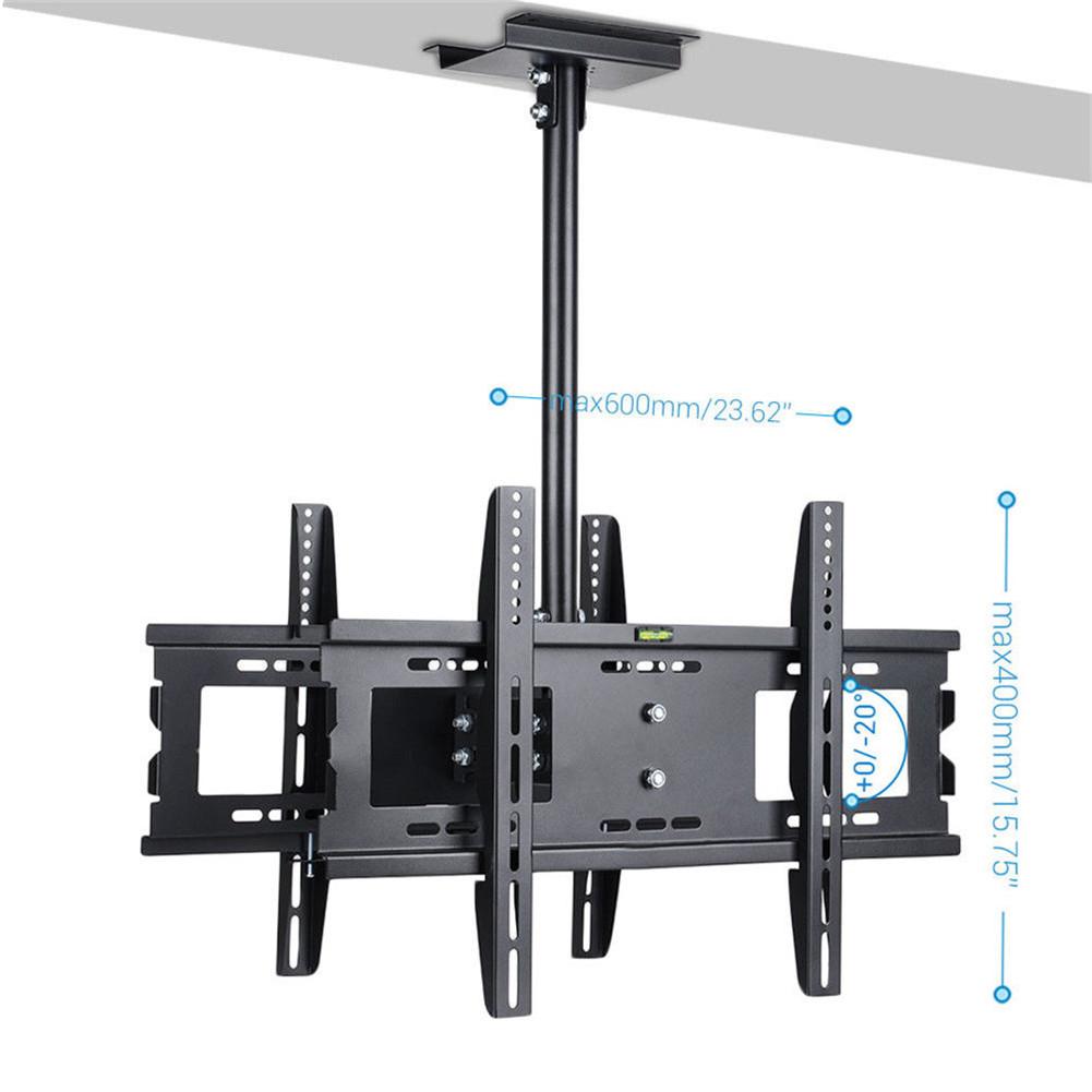 "double 32-65"" large ceiling mount tv bracket – adjustable lcd/led"