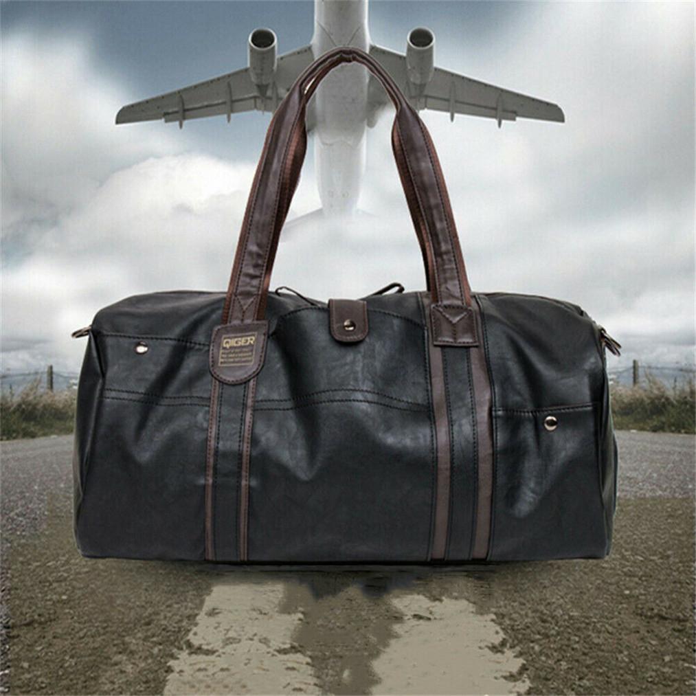 d0376e00db1c Details about Mens Large Leather Barrel Duffle GYM Tote Travel Bag Luggage  Shoulder Sports Bag