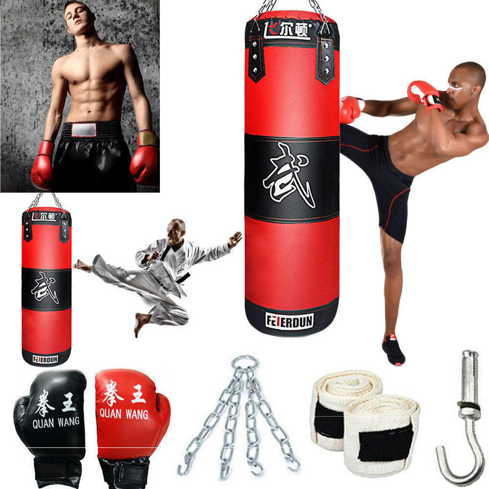 Heavy Boxing Punching Bag Training Gloves Speed Set Kicking Mma Workout Empty Us Ebay