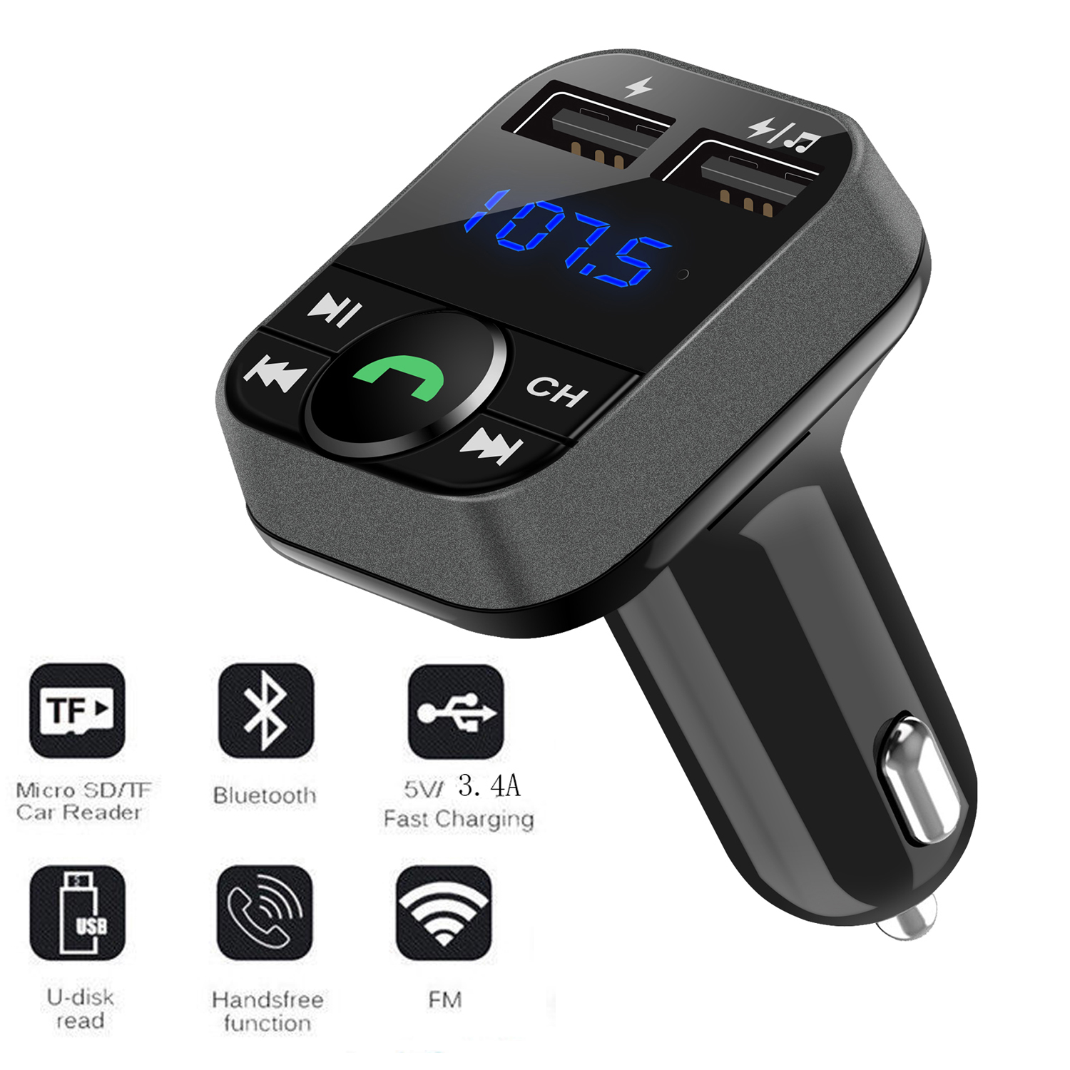 Handsfree Car Kit FM Transmitter Wireless Audio Adapter MP3 Player 2 USB Charger